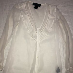 Kardashian kollection sheer white blouse